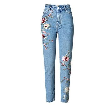 Spring Casual Women Pencil Jeans High Waist Floral Embroidery Fashion Ankle Length Women Denim Pants