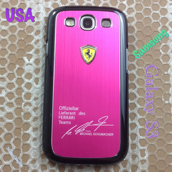 Ferrari Samsung Galaxy S3 Case Ferrari 3D Metal Logo With Aluminum Cover for S3 / i9300 - F1 Pink