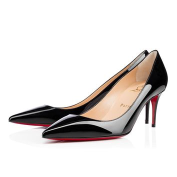 Best Online Sale Christian Louboutin Cl Decollete 554 Black Patent Leather 70mm Stilet