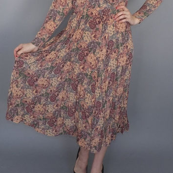 Vintage 80s does 40s Dusty Rose Pink Floral Shirt waist Dress Country Tea Dress Sundress Long Sleeves Small Petite Medium Folk Swing Dress