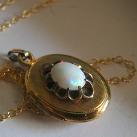 Vintage Opal Locket with Synthetic Opal and Gold Filled Chain - Gothic Style