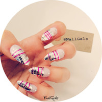 Beautiful pink and silver tape with rhinestones stiletto nails set - Nail art - press on nails -false nails - acrylic nails