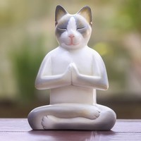 Wood 'Cat in Meditation' Statuette (Indonesia) | Overstock.com Shopping - The Best Deals on Statues & Sculptures