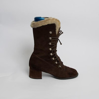 1970's Brown Suede Boots - Vintage 70's Leather Lace Up Mod Mad Men Chunky Heel Fleece Shoes Size 37,5 EU, 7 US