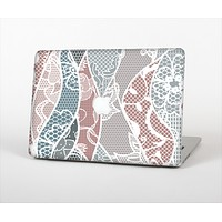 The Brown and Teal Lace Design Skin Set for the Apple MacBook Air 13""