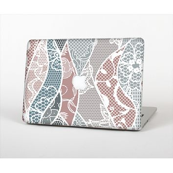 """The Brown and Teal Lace Design Skin Set for the Apple MacBook Air 13"""""""