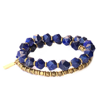 Wrist Mala Bracelet with 27 Beads with Lapis Lazuli For Intuition