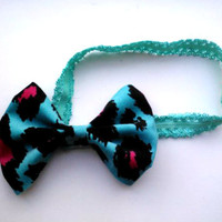 Rockabilly Baby Headband- Blueberry Leopard With Blue Lace