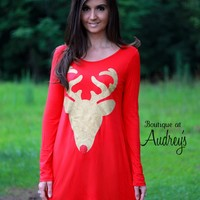 BLACK FRIDAY SPECIAL Red Glitter Reindeer Tunic