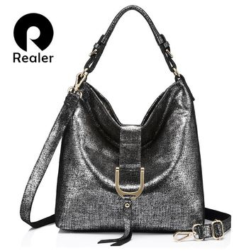REALER brand genuine leather messenger bag women's shoulder bags female handbags hobo large capacity ladies casual tote bag