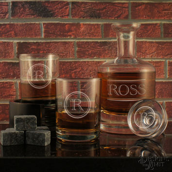 The Gentleman - Design's Deep-Carved Decanter with Designs & OPTIONAL Monogrammed Old Fashioned Tumblers and Engraved Whiskey Stones