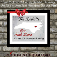Our First Home Housewarming Gift Custom Map State Print: Add Quote Location Address Last Name Sign Heart Love Unique Wall Art Home Decor