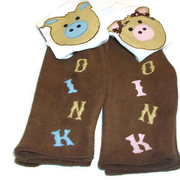 Twin Boy and Girl Clothes  - Twin Fleece pants and Bodysuit Sets - Matching Twin Outfits - Twin Baby Gifts
