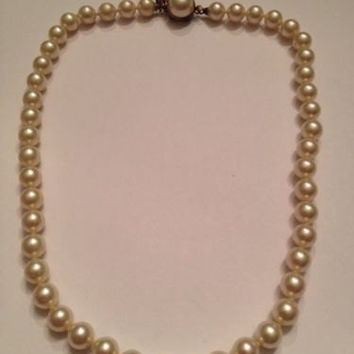 Vintage Majorica Pearl Necklace Sterling Jewelry