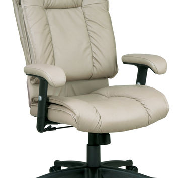 Office Star Deluxe High Back Executive Deluxe Coated Tan Leather Chair with Pillow Top Seat and Back [EX9382-1]