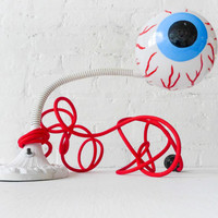 Eye See You - Vintage Industrial Neon Glow Gooseneck Lamp - Antique Cast Iron Table Light - Blood Red Cloth Color Cord - Eye Ball Bulb