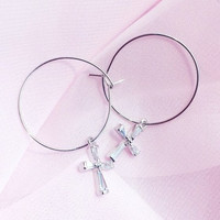 Cross Accent Hoop Earrings | mixxmix