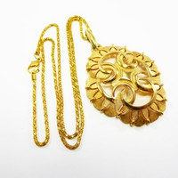 Trifari Brushed Gold Tone Pendant on a Double Rope Chain Necklace, Designer Signed Scrolled Fan Style Design Vintage 1960s 1970s Mod Jewelry