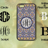 Flower Tiles Monogram-iPhone 5, 5s, 5c, 4s, 4 case, Ipod touch 5, Samsung GS3, GS4 case-Silicone Rubber or Plastic Case, Phone