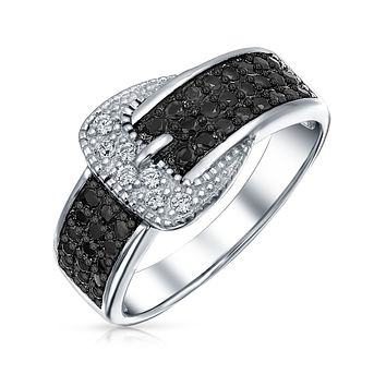Pave Black CZ Belt Buckle Band Ring 925 Sterling Silver