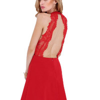 Red Lace Backless Halter Dress for Homecoming Wedding Party