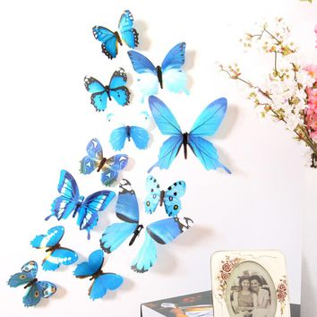 12pcs 3D Cute Butterfly Rainbow Wall Stickers, Decorations Wall Decals