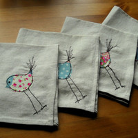 Bird design machine embroidered linen napkins set of four Shabby Chic table linen table decorations eco friendly home textiles