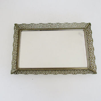 Vintage Mirror Vanity Mirror Gold Square Dresser Tray Vintage Gold Mirror Tray Vintage Wedding Centerpieces Shabby Chic Decor Boho