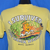 80s I Survived Hana Highway Maui Hawaii t-shirt Medium