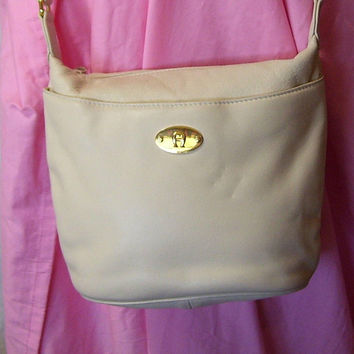 Etienne Aigner, Purse Handbag, Pocketbook, Shoulder Bag, Crossbody, Genuine Leather, RARE Cream / Ivory / Beige