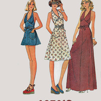 Vintage 70s  Maxi WRAP Dress with Halter neckline w/ Midriff Ties & Shorts McCalls 4486 1970s American Hustle Pattern Size 12 Bust 34