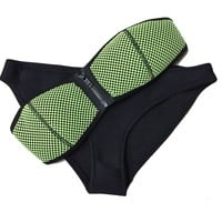2015 New Women Neoprene Bikini Mesh Strapless Top with Bottom Bathing Suit Swimsuit Green Medium