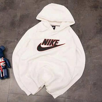 NIKE autumn and winter new plus velvet couple sports and leisure hoodies White
