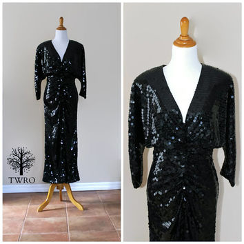 Vintage 80s Oleg Cassini Black Sequin Maxi Full Length Dress/ Open Cut Out Back Disco Dress/ Bombshell Pinup Dress/Cocktail Formal Gown