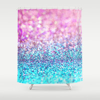 Pastel sparkle- photograph of pink and turquoise glitter Shower Curtain by Sylvia Cook Photography