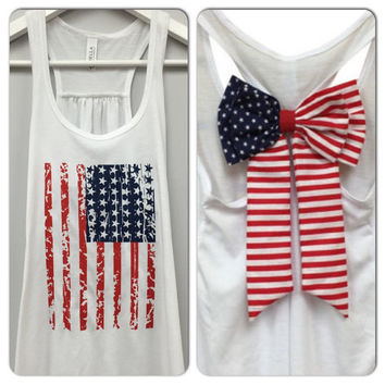 American Flag Bow Tank, Bow Tank Top, Star Tank Top, 4th of July Tank, American Flag Tank Top, Country Tank, Councert Tank