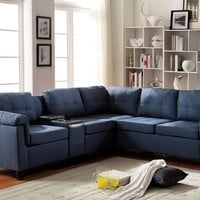 Cleavon collection blue linen fabric upholstered reversible modular sectional sofa