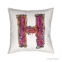 Whimsical, Letter, H, Pillow, Decorative, monogram pillow, Illustration, funky, typography, Alphabet, Art, Printed fabric, Ingrid Padilla