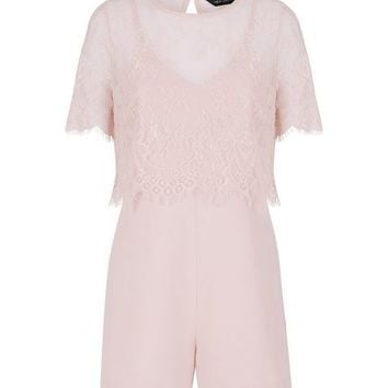 Pink Lace Overlay Playsuit | New Look