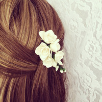 Rustic hair clip-rustic wedding hair accessories-bridesmaid hair-flower hair-freesia flowers hair clip-rustic wedding jewelry-hair piece
