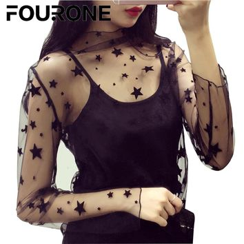 Women Ladies Fashion Sexy Sheer Mesh Shirt Tops Long Sleeve Casual Club Blouse Inside Shirt