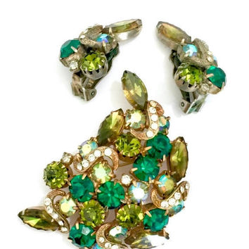 Shades of Green Rhinestone Demi, Brooch & Earring Set, Unsigned Designer, Green and Aurora Borealis, Pave Ice Crystal Accents, Vintage Demi
