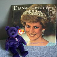 Princess Diana calendar and ty beanie baby collectibles