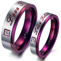 Love Forever GLITTERING Titanium Steel Promise Ring Couple Wedding Bands gift