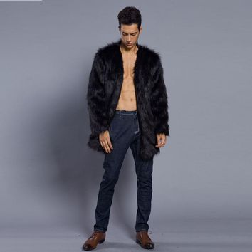 Men Winter Warm Long Sleeve Outerwear Coat Waistcoat Jacket Overcoat Prince High Quality Fashion Design Casual Solid Faux Fur