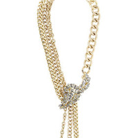 Grey/Gold BCBG Stone Applique Chain Necklace