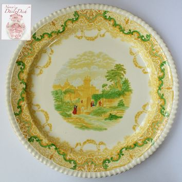 "Huge 15"" Yellow Transferware Round Platter Spode Copeland Scenic Views"