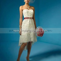 Bridal Party Dresses - A-Line Lace Sweetheart Embroidered Beaded Wedding Dress 2133 - Mini Wedding Dresses - Wedding Dresses - Wedding Apparel - Affordable Wedding Dresses Manufacturer