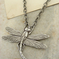 Silver Dragonfly Necklace Vintage Silver by chloesvintagejewelry