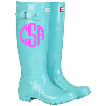 Rainboot Monogram Decals - Set of 2 Decals - Rain Boot Decal - Rain Boot Monogram